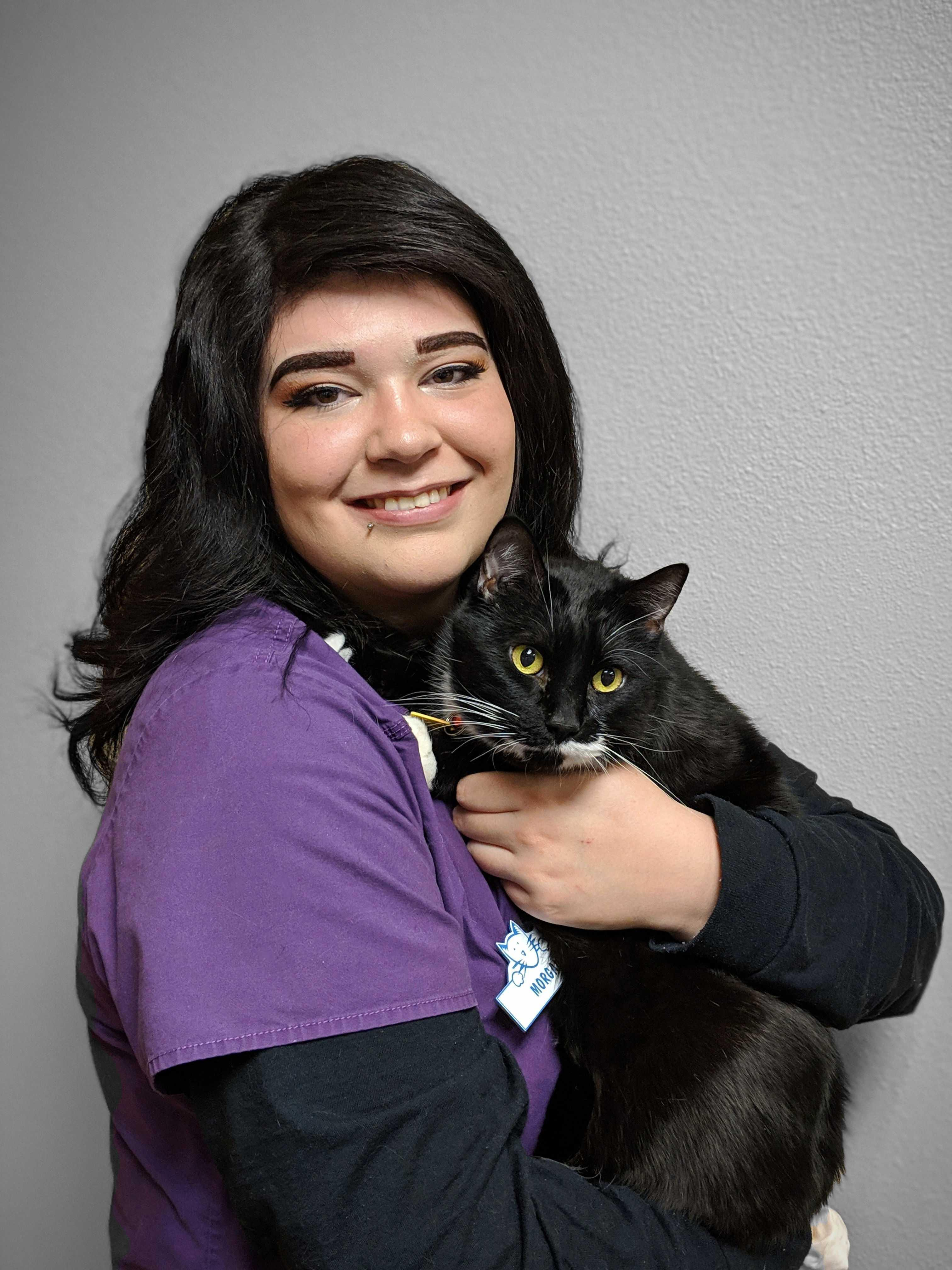 assistant Morgan with her cat